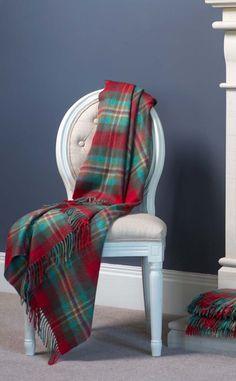 Luxury Cashmere Throw, Merchiston Cardinal Blue plaid by Scotweb Tartan Mill