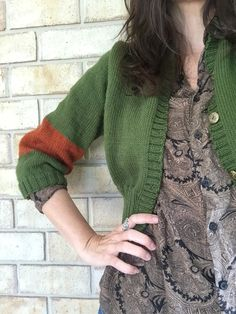Plan B cropped cardigan. Emerald and Rust pure wool with vintage buttons. Cropped Cardigan, Vintage Buttons, Leg Warmers, Rust, Emerald, Pure Products, Pullover, Wool, Legs