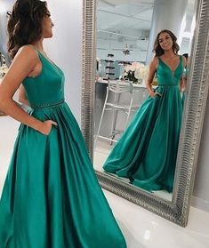 f61101091c62 V neck Dark Green Evening Dress