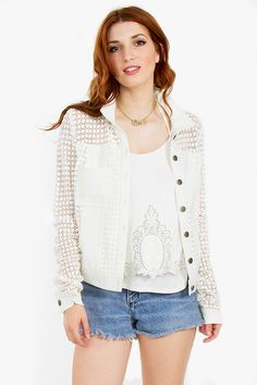 We consider the Sugarlips In Your Dreams Jacket the crochet jacket of our dreams. Features two front pockets. Button down closure in the front. Pair it with your favorite floral mini dress and wooden platforms. #MyLuluCloset #Sugarlips #Storenvy #Jacket