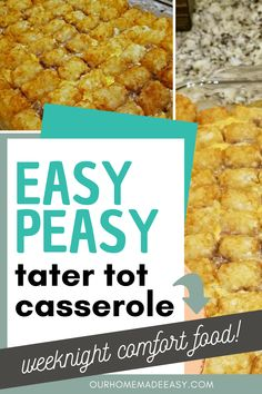 Tater Tot Casserole is an easy meal to throw together on a weeknight. It's a classic comfort food that the whole family will love. I've inlcuded plenty of ideas for add-ins, so you never have to have it the same way twice! Pork Recipes For Dinner, Italian Dinner Recipes, Quick Easy Dinner, Easy Meal Prep, Easy Meals, Top Recipes, Amazing Recipes, Dessert Recipes, Easy Tater Tot Casserole