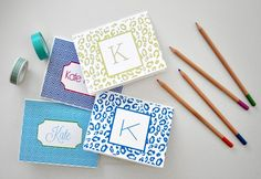 Free printable templates for making these pretty monogrammed notecards.  Great tutorial for how to download and insert name.