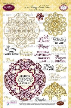 JustRite Lace Vintage Labels Three Clear Stamps