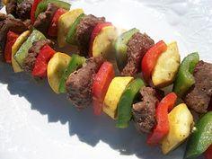 Sandy's Kitchen- Medifast Recipes- Spicy Beef & Vegetable Kabobs