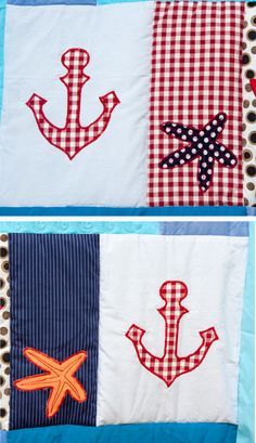 Nautical Patchwork Quilt Personalized Blanket by TheBesssCorner