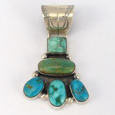 """Sterling Silver Cluster Turquoise Pendant With Various Shades of Turquoise and a Stamped Bale. 1.25"""" Width, 2"""" Height"""