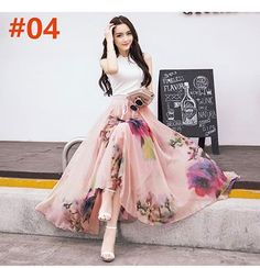 Best Seller High Quality Flower Print Silk Long Chiffon Skirts Elastic Patterns Peacock 7.4m Buttom Bohemia Skirt Maxi Long