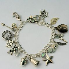 Peter Pan And Wendy Thimble and Acorn Kisses and Lost Boys Charm Bracelet in Silver Tone III - Second Star Right on Etsy, $50.00
