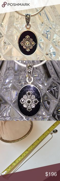 """Vint 925 Sterling Black Onyx/ Marcasite 16"""" Neckl Vint 925 Sterling Black Onyx/ Marcasite 16"""" Necklace. Pendent is 1/4"""" X 1/2"""". Beautiful!!! Simply Stunning!!! Style up BlueJeans, Dress, or Evening out. Great present for yourself or a special someone. Think Christmas, Birthday, or Thinking of you. Vintage Jewelry Necklaces"""
