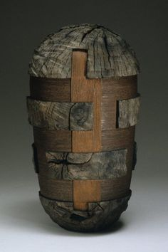 "Untitled from Ringed Series 2004; made of oak and wire by Todd Hoyer. He writes that this is ""turned (on a wood lathe), weathered, carved, burnt."" Hoyer's work is featured in Collectors of Wood Art - Artist Portfolio"