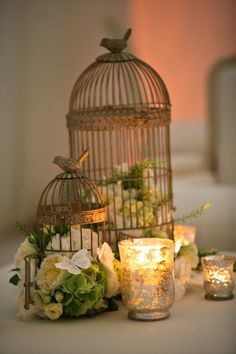 Vintage birdcages with green and white floral, twinkle lights, butterfly