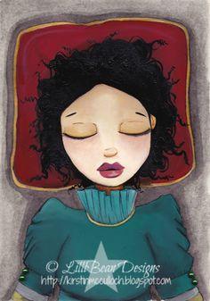 'Asleep' - LISTENING TO THE SQUEAK INSIDE art by Kirstin McCulloch of LilliBean Designs