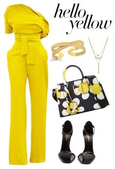 """Untitled #53"" by luluchulu ❤ liked on Polyvore featuring Marc Jacobs, Yves Saint Laurent, Lord & Taylor, PopsOfYellow and NYFWYellow"