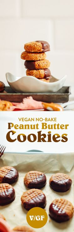 Insanely delicious, tender, perfectly sweet peanut butter cookies made with just 3 ingredients! No baking required, easy to make, and the perfect snack or dessert! Baker Recipes, Vegan Dessert Recipes, Whole Food Recipes, Cookie Recipes, Peanut Recipes, Vegetarian Recipes, Raw Recipes, Healthy Recipes, Pastry Recipes