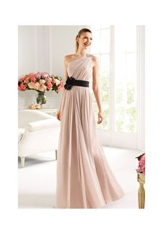 Chiffon One-Shoulder A-Line Long Bridesmaid Dress - Bridesmaid - WHITEAZALEA.com. i think this is the one..