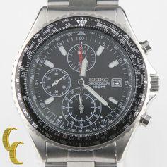 Seiko Men's Stainless Steel Chronograph Quartz Watch 7T92 w/ Date & Tachymeter #Seiko #Sport