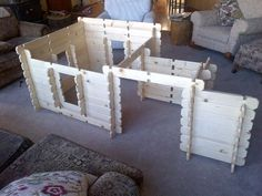 Log Cabin Style Wooden Fort Play House Playhouse. $799.00, via Etsy. #indoorplayhousekits