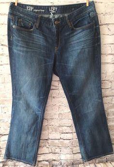 Ann Taylor LOFT Boot Cut Jeans Size 12P Original Petite Distressed Wash Denim  #AnnTaylorLOFT #BootCut #Petite #Distressed #Destroyed #Denim