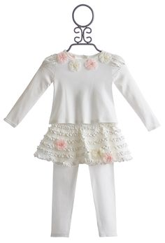 Baby Biscotti Ivory Infant Top with Skirted Legging