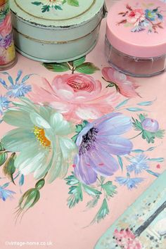 Vintage Home - Beautiful 1930's Hand Painted Floral Tray.
