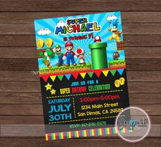 Super Mario Bross Design Birthday Party Card Digital Invitation