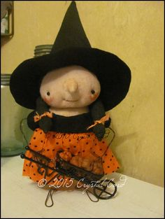 CUSTOM ORDER 4 CRYSTAL Whimsical witch Dolls Primitive by emsprims