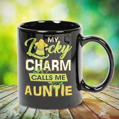 My Lucky Charm Calls Me Auntie Great t-shirts, mugs, bags, hoodie, sweatshirt, sleeve tee gift for aunt, auntie from niece, nephew or any girls, boys, children, friends, men, women on birthday, mother's day, father's day, Christmas or any anniversaries, holidays, occasions.