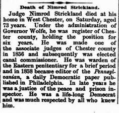 Genealogical Gems: Sunday's Obituary: Judge Nimrod Strickland