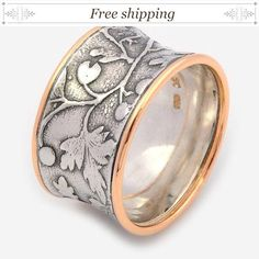 Two Tone Woodland ring - Silver and Gold Wedding #jewelry #ring @EtsyMktgTool http://etsy.me/2a7H4MF