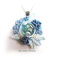 Blue Polymer Clay Sculpted Pendant with Glass Nugget £16.00