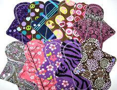 "9"" Reusable Cloth Menstrual / Incontinence Pads / Mama Cloth Pads - Free Shipping - Set of 5 - Light to Medium Flow - Choose Your Fabric"