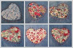 Liberty and bluejeans cushion, reverse applique tutorial