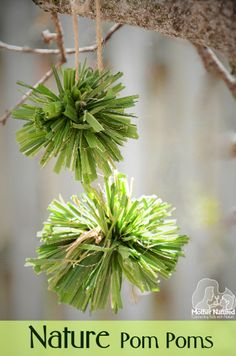 DIY Nature Pom Poms sympa avec du raphia pour l'extérieur