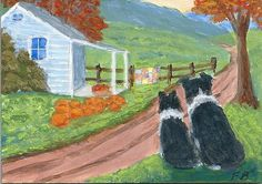 """Harvest Watch"" featuring Border Collies, Sammy and Breagh, enjoying the fall colors on a country road with pumpkins, apples on the porch and a quilt on the fence, from an original ACEO painting by North Carolina artist, Fran Brooks. www.artistnannie.com"