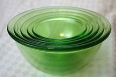 Hazel Atlas Green Depression Five Piece Mixing Bowl Set