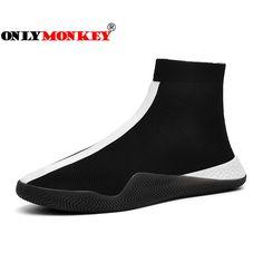 ONLYMONKEY hombres calcetín de malla transpirable zapatos de los hombres  cómodos de alto top de deporte db1764ff096e9
