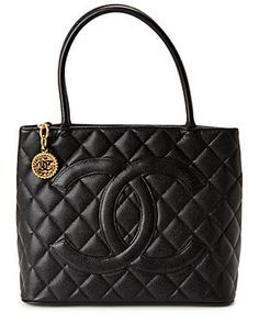 a51ce7b5ea0 Chanel Black Quilted Caviar Leather Medallion Tote Bad Bad