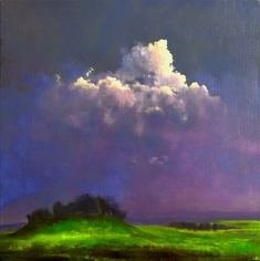 The Fairy Rath V, John O'Grady | The backlit cloud lights up a patch of green grass that stands out against the violet sky in this quiet painting.