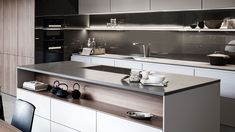While pristine white kitchens have been popular for at least a decade, grey is now the new white according to industry experts, with architects and designers from all over the world embracing this trendy tonal hue. Smart Kitchen, Stylish Kitchen, Country Kitchen, Kitchen Storage, Kitchens To Go, White Kitchens, Hidden Spaces, German Kitchen, Luxury Kitchen Design