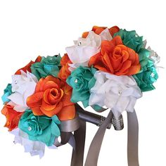 2 Bouquets-White, Orange, Spa artificial roses with rhinestone
