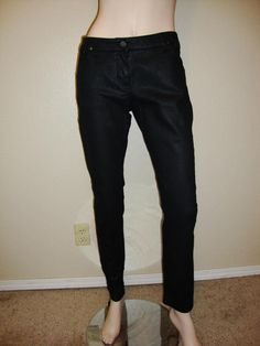 Givenchy COATED Black Denim Runway Women's Slim Fit Jeans Size 40 #Givenchy #SlimSkinny