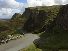 Looking back down the road from Quirang, Skye