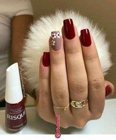 nails - Não fique fora da moda, veja essa dica e ligada nas tendência de lindas unhas! Cute Acrylic Nails, Glitter Nails, Cute Nails, My Nails, Nailart, Nails Polish, Burgundy Nails, Burgundy Nail Designs, Pretty Nail Art