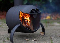 Rim Fire Pit, Metal Fire Pit, Cool Fire Pits, Gas Bottle Wood Burner, Rocket Stove Design, Backyard Bbq Pit, Mini Wood Stove, Custom Bbq Smokers, Fire Pit Cooking