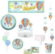 pack baby shower montgolfières décoration et vaisselle jetable
