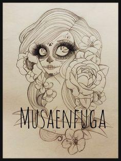 Tatuaje de catrina mexicana por musaenfuga www.musaenfuga.blogspot.com