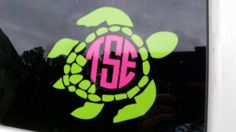 Two Color Turtle Monogram Decal by DesignandGraphics4U on Etsy