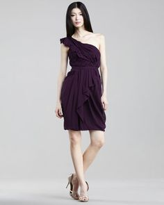 One-Shoulder Chiffon Dress by J. Mendel at Neiman Marcus.