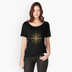 """"""" Rose of the Winds Gold Compass"""" Women's Relaxed Fit T-Shirt by ppanda   Redbubble"""