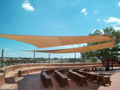 Shade sails add interest and define outdoor spaces